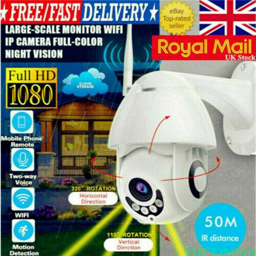 1080P WIFI IP Camera Wireless Outdoor CCTV HD PTZ Smart Home Security IR Cam UK