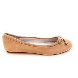 UGG-Women-039-s-Size-7-Suede-Beige-Leather-Ballet-Flats-As-New-Condition