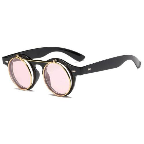 Steampunk Round Sunglasses Cover Clear Lens Sun Glasses Women Men Vintage Metal