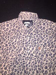 BAPE-A-Bathing-Ape-Cheetah-CAMO-Tee-Shirt-BUTTON-Up-Vintage-MEN-039-S-SIZE-Medium-M