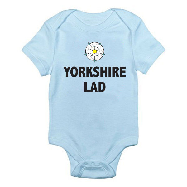 YORKSHIRE LAD - Boy / Son / Brother / Rose / Novelty / Fun Themed Baby Grow/Suit
