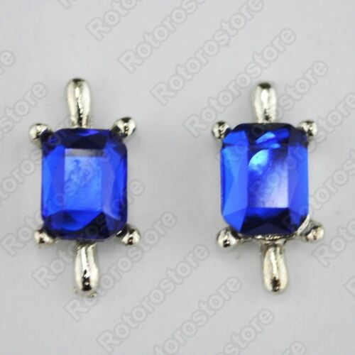 NEW Magnetic Mens Womens Fashion Blue Stone Silver Magnet Stud Earrings