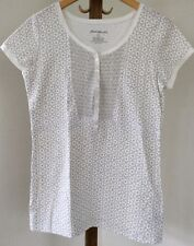 Eddie Bauer Womans Causal Short Sleeve Shirt White Gray Floral Size Large Button