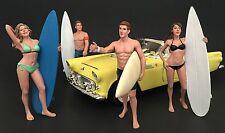 American Diorama 1/24 Four Figure Surfer Set -- Casey, Paris, Greg, Jay