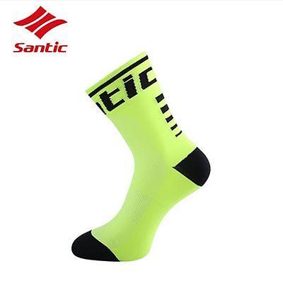 Santic Cycling Socks Outdoor Antibacterial Sport Socks Unisex One Size Green