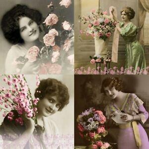4 Serviettes En Papier Napkins Découpage Collage 33 Cm Vintage La Vie En Rose