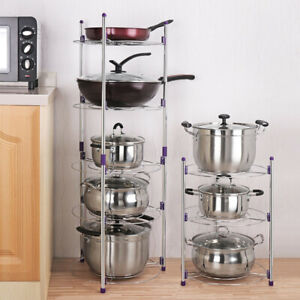 2-3-5-Tiers-Saucepan-Frying-Pan-Pot-Storage-Rack-Shelf-Stand-Kitchen-Organizer