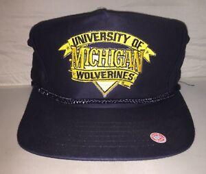 83eea9d83f9 ... best image is loading vtg michigan wolverines snapback hat cap college  football 0bb1f f799f