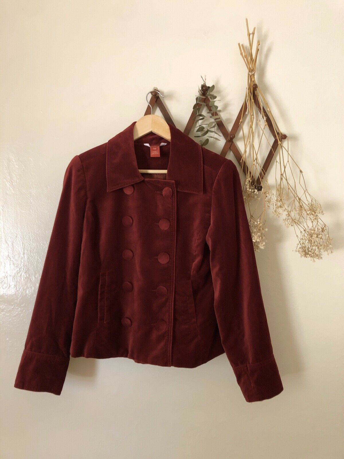 ❀Sundance Vintage Red Velvet Button Blazer 10P - image 1