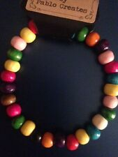 Multi-Coloured Wood Bracelet, Wood Bead, Bright colours, Wooden beads