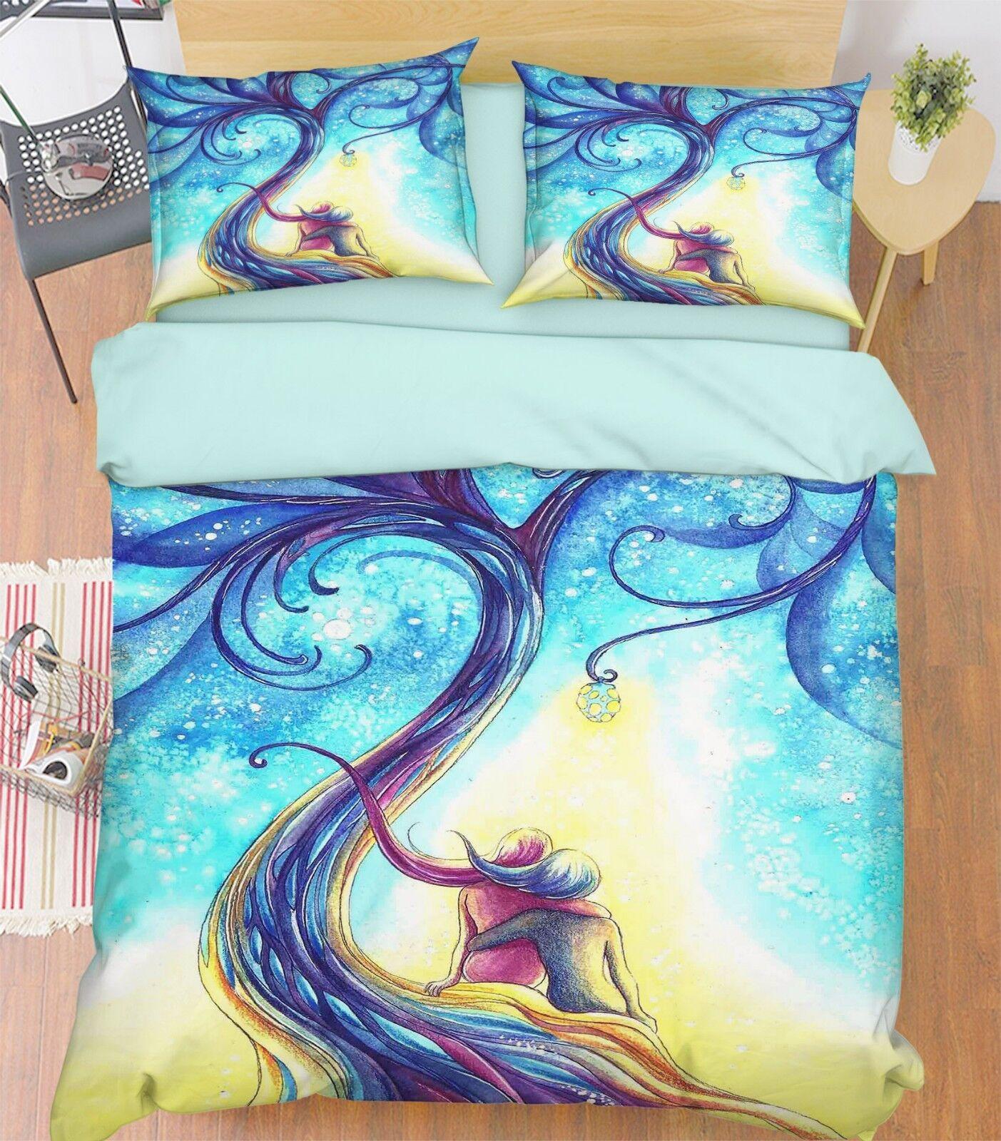 3D Graffiti Tree 788 Bed Pillowcases Quilt Duvet Cover Set Single Queen King CA