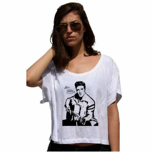 Elvis Presley Lady 80/'S T-shirt Cotton Touch Tee Crop Woman Top