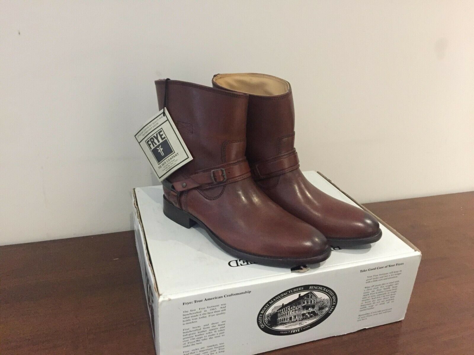 New FRYE Women's Lindsay Spur Short Boot Redwood Leather shoes Size 40 (UK7)