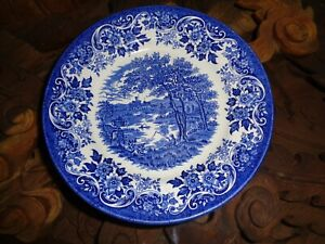 Un-Marked-Blue-And-White-Side-Plate-Village-Country-Scene