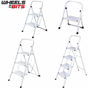 Foldable 1 2 3 4 step steel ladder non slip tread stepladder safety kitchen ebay - Escabeau de cuisine pliable ...
