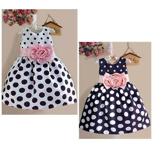 Baby Uk Girls Gown 7y Polka Flower 2 Dot Party Formal Dress Kids Princess wR5F1p