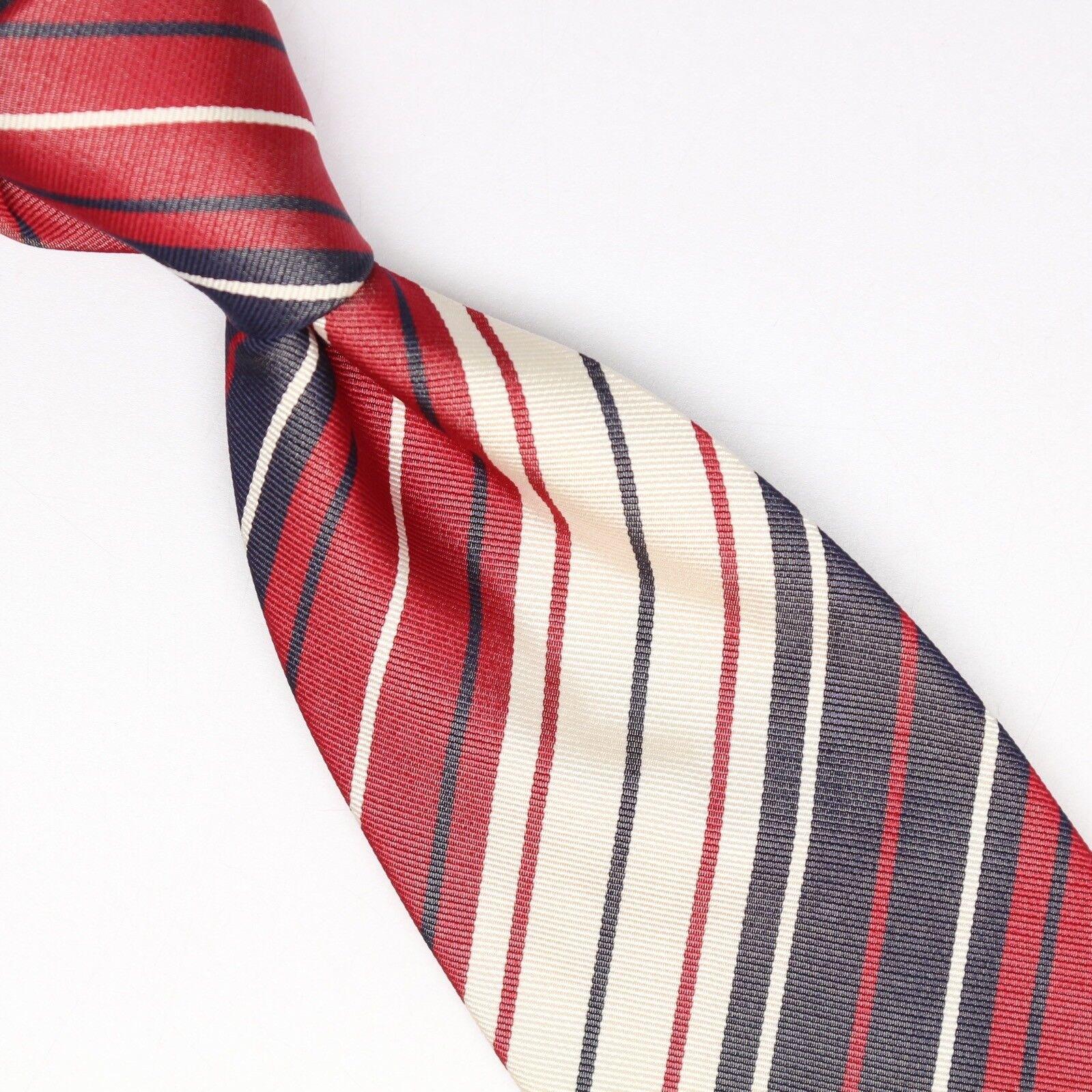 Gladson Herren Seidenkrawatte Rot Grau Creme Weiß Mehrfach Gestreift Italien | Sale Outlet