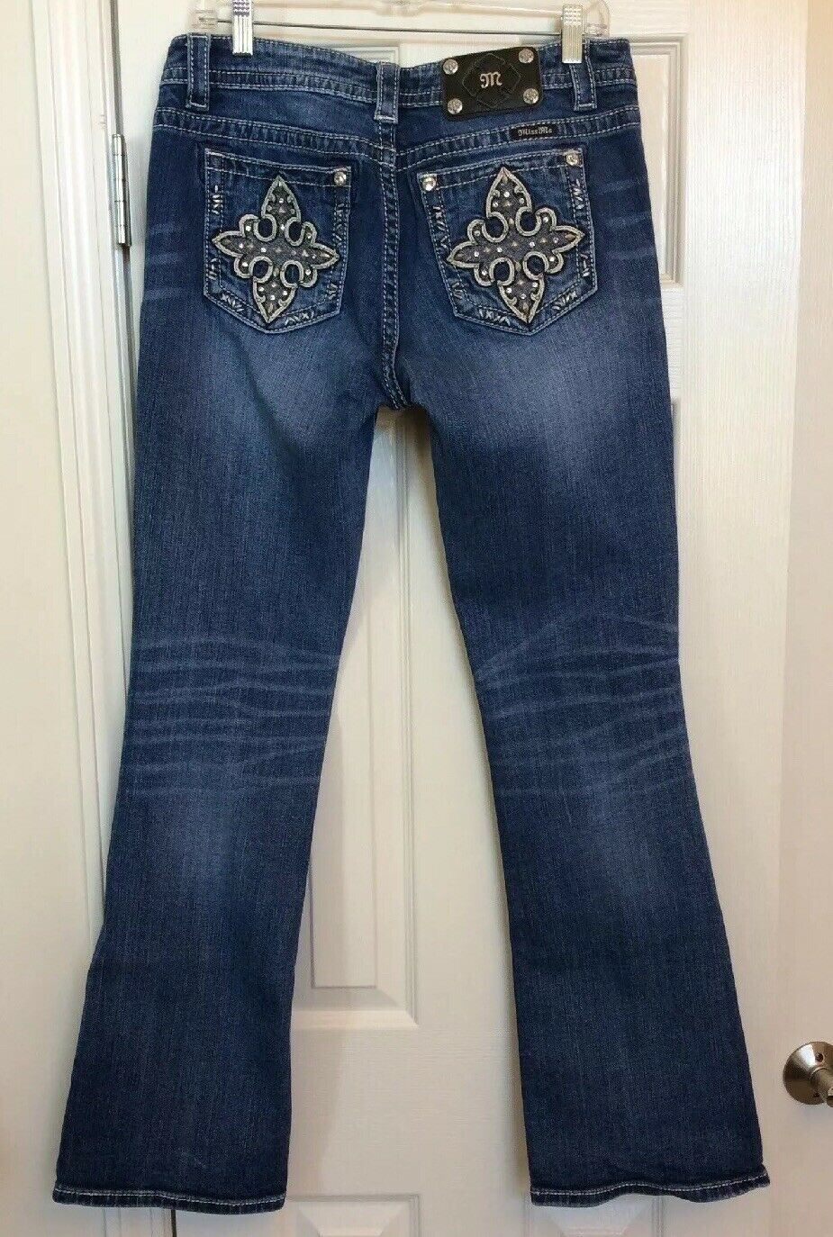Miss Me Signature Boot Cut Stretch Jeans Studs And Rhinestones JY7535B2 Size 30