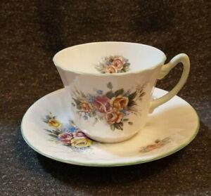 Fine Bone China Teacup & Saucer, Royal Sutherland, Staffordshire, Floral Ribbed