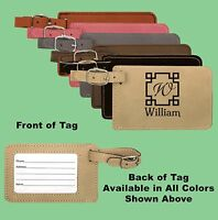 Personalized Custom Engraved Leatherette Luggage Tags. 6 Colors & Free Engraving
