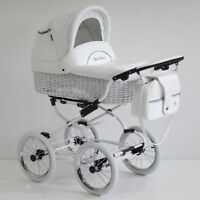 Baby Fashion Scarlett Retro Wicker Baby Pram, Pushchair 2in1- White Leatherette