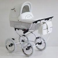 Baby Fashion Scarlett Retro Wicker Baby Pram, Pushchair 2in1- White Leatherette