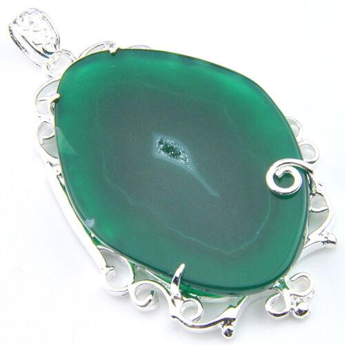 New Arrival Flower Style Emerald Agate Slap Geode Gems Silver Necklace Pendants
