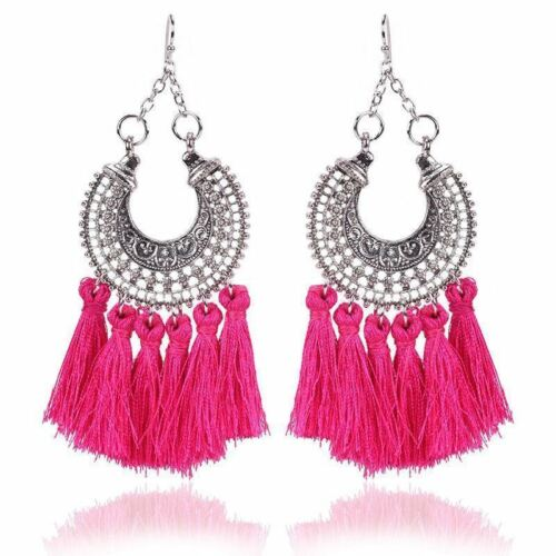 VTG Women Boho Bohemian Long Tassel Fringe Dangle Antique Silver Earrings