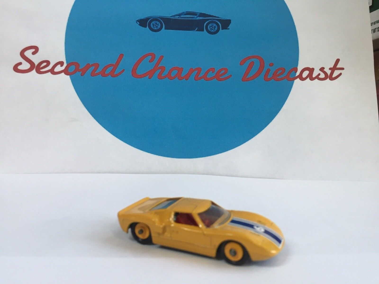 Vintage 1965 1965 1965 Matchbox Lesney C FORD GT;  WHITE RESTORED TO RARE YELLOW 72c001