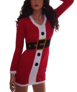 71eca5672e7f Womens SANTA Mrs Claus Ugly Christmas Sweater Party Dress S XL Plus ...