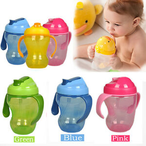 2016-260ml-Baby-Cup-Infant-Learn-Drinking-Straw-Handle-Bottle-Sippy-Cup-BPA-Free