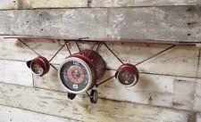 Large Metal Plane Wall Clock Vintage Aeroplane Display Shelf Industrial Decor