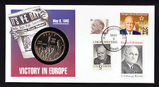 1995 USA stamps & Marshall Islands Coin on 50th VE Day Victory in Europe cover