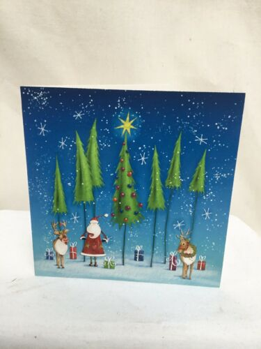 Charity Christmas Cards Willow Wood Hospice SANTA AND TALL TREES Envelopes 10 Pk