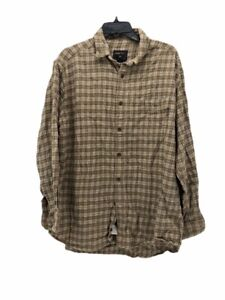 Woolrich-Mens-Button-Front-Shirt-Brown-Plaid-Long-Sleeve-Pocket-Collared-L