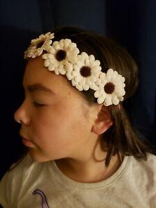 EMBROIDERED DAISY FLOWER STRETCH ELASTIC HEADBANDS HEAD HAIR BANDS FESTIVAL NEW