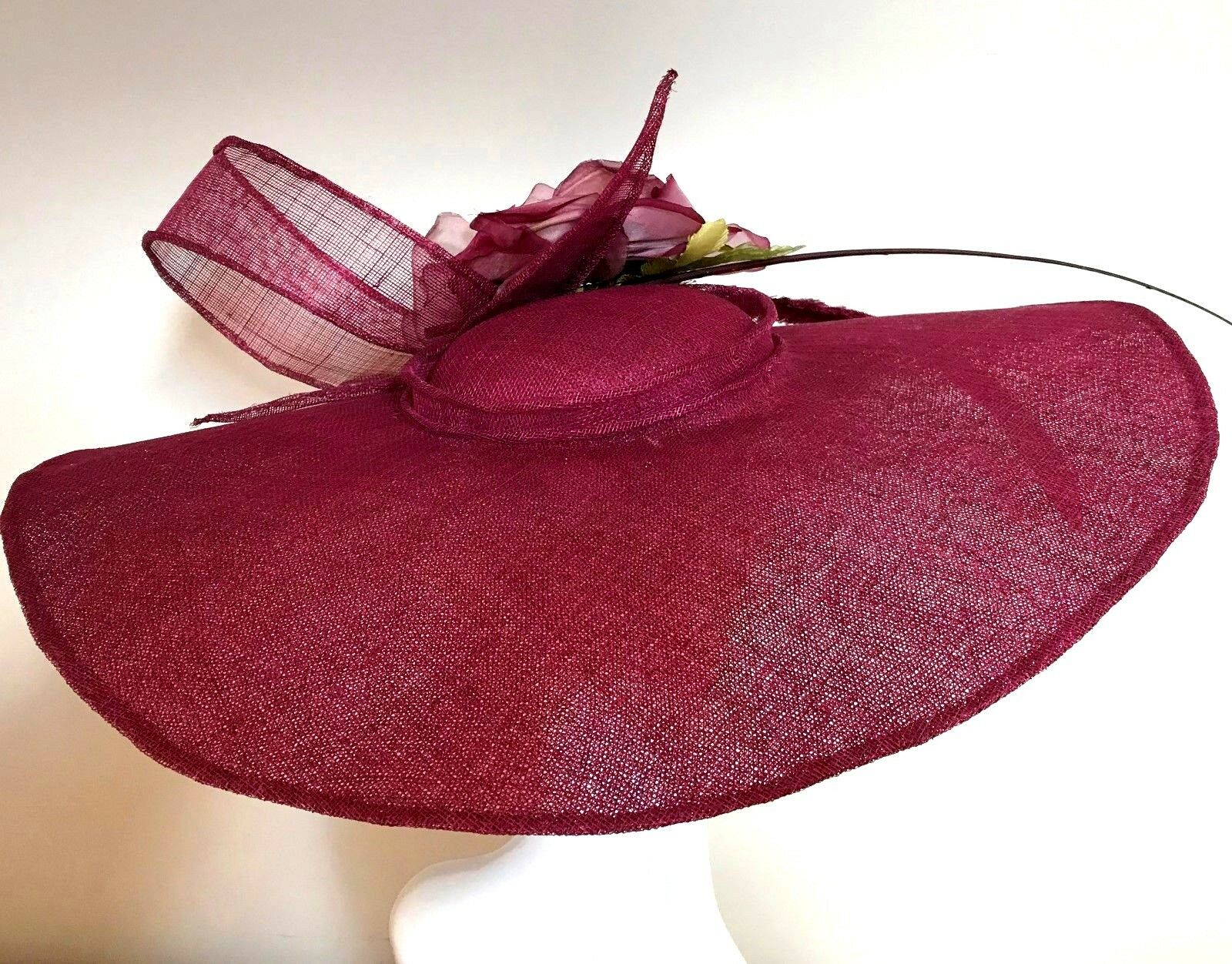 Exclusive Cranberry Designer Millinery by Hat Couture Wedding Bridal Race Hat
