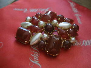 """1950s AUSTRIA Costume Brooch, Orange-Red Jelly cabochons, Faux Pearls, 2.5"""""""