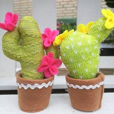 Bonito 2 X Flor De Arte Arte Planta Pink Olla Cactus Cactus Sustancia Tilda Higge Cuerda Apariencia Atractiva