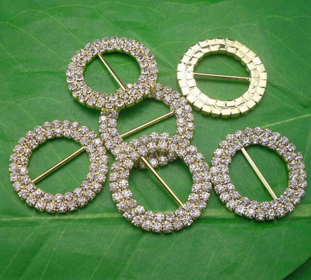 32mm round glass rhinestone buckle Invitation ribbon sider wedding supply