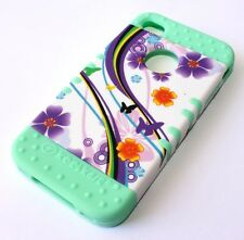 For iPHONE 4 4S - HARD&SOFT RUBBER HYBRID IMPACT CASE PURPLE FLOWER / MINT GREEN