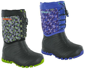 b254eefa Details about Merrell Snowquest Boots Kids Childrens Winter Snow Lined  Rubber Boy Girl Wellies