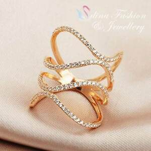 18K-Rose-Gold-Plated-Simulated-Diamond-Charming-Hollow-out-Spiral-Band-Ring