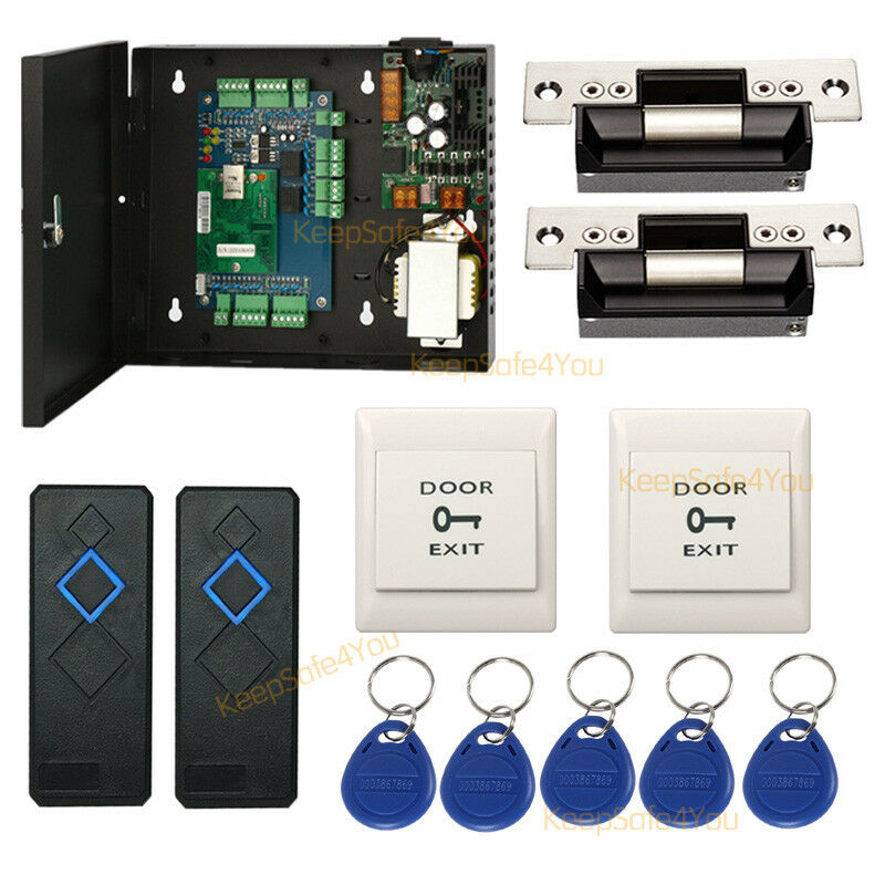 TCP//IP 2 doors access control panel with 220V to DC 12V Black Power Supply kit