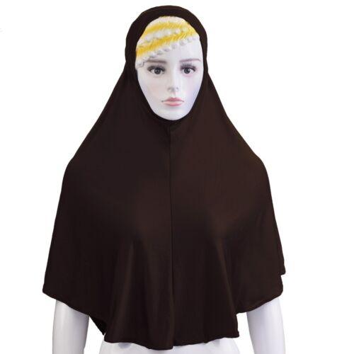 Amira Headscarf Women Muslim One Piece Hijab Long Scarf Islamic Head Wrap Shawl