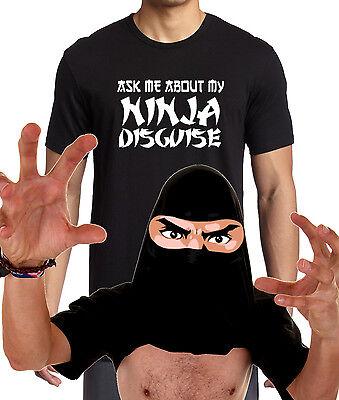 Men's Ask Me About My Ninja Disguise T Shirt Funny Flip Up Halloween Humor Tee