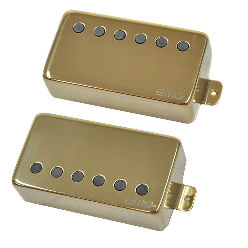 grande vendita EMG 57 66 Alnico V Attivo Attivo Attivo Manico e Ponte Humbucker Set oro Spedizione Gratuita  fino al 65% di sconto