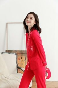 a5cc72d3ee Victoria s Secret Red Sleepover Long Top Trousers Knit Pyjama Pajama ...