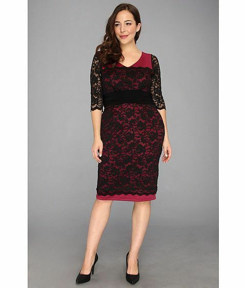 NWT Authentic Kiyonna RSVP Lace Dress in Berry, 3X