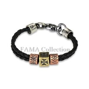 00096cfc29817 Details about Unique FAMA Black Leather Braided Bracelet w/ Celtic Cross &  Scaled Steel Charms